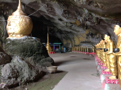 Face rock in a cave temple outside Hpa An